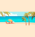 beautiful girl lies on sea beach vector image