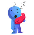 blue cartoon caracter with a pillow on white vector image vector image