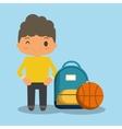 cartoon boy yellow tshirt bag and ball vector image