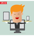 Cartoon business man show Responsive web design vector image
