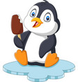 cartoon penguin holds chocolate ice cream treat vector image vector image
