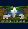 cartoon three rhinos enjoying at night forest vector image vector image