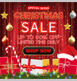 christmas sale banner design with gift box vector image vector image