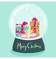 Colorful Christmas poster with cartoon snow globe vector image vector image