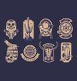 cowboy emblem set vector image