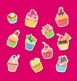 cute cartoon muffins or cupcakes stickers vector image