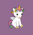 cute little unicorn sitting print baunicorn vector image vector image