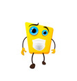 cute yellow monster childish cartoon character vector image