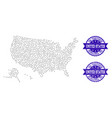 dotted map of usa territories and textured seal vector image vector image