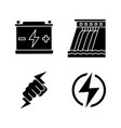 electric energy glyph icons set vector image vector image