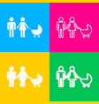 family sign four styles of icon on vector image vector image