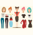 Fashion model elements set vector image