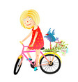 girl and birdie riding bicycle happy summer vector image vector image