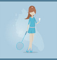 girl playing in badminton vector image vector image