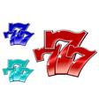 glossy 777 jackpot symbol vector image vector image