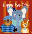 happy birthday card with cute animals vector image vector image