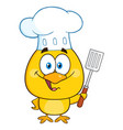 happy chef yellow chick cartoon character vector image vector image