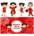 happy kids and chinese new year card template vector image