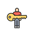 human hold big key flat color line icon vector image vector image