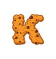 k letter cookies cookie font oatmeal biscuit vector image vector image