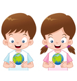 Kids with globe vector image vector image