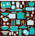 Kitchenware in blue colors vector image
