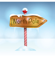 North Pole Christmas Wooden Sign vector image vector image