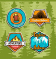 outdoor travel forest adventure label sign set vector image