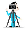 photographer with camera on tripod isolated on vector image vector image
