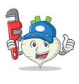 plumber turnip mascot cartoon style vector image