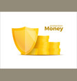protection money concept 3d shield saving dollar vector image