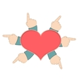 Red heart with hands vector image