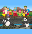 scene with people looking at panda in zoo vector image vector image