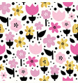 seamless pattern gold foil flowers and pink vector image