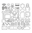 set of cyber security icons vector image