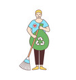smiling male volunteer with broom and recycling vector image vector image