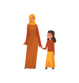 smiling mother holding hand her little daughter vector image vector image