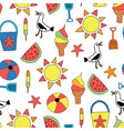 summer objects seamless pattern sand vector image vector image