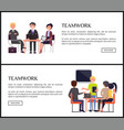 teamwork promo internet banners with office staff vector image vector image