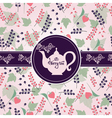 Teapot with berry pattern vector image vector image