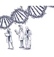 three scientists exploring giant dna spiral vector image