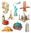 travel tourist attraction 3d icon set vector image
