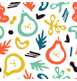 trendy pears background doodle fruits abstract vector image vector image