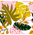 tropical seamless floral leaves pattern vector image vector image