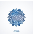 Watercolor blue flower symbol mandala vector image