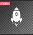 white rocket ship with fire icon isolated on vector image vector image