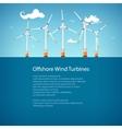 Wind Turbines at Sea Poster Brochure Design vector image vector image