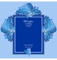 Winter frozen glass background Blue wedding frame vector image vector image