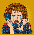 woman crying human emotions telephone vector image vector image