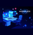 workplace with computer table pc monitors armchair vector image vector image